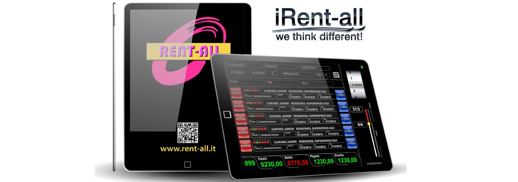 ipad con visualizzata una schermata di iRent-all